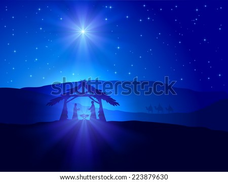 Christian Christmas scene with shining star on blue sky and birth of Jesus, illustration. - stock photo