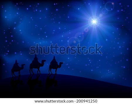 Christian Christmas scene with the three wise men and shining star, illustration. - stock photo