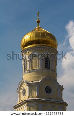 christian church on a blue sky background - stock photo