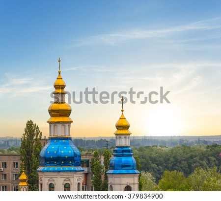 christian church on a sunset background - stock photo