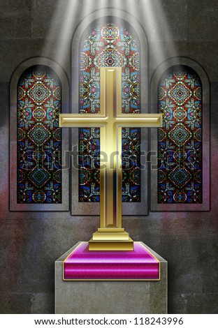 Christian Church Stained Glass Windows With Metal Cross On Plinth Rays Of Light