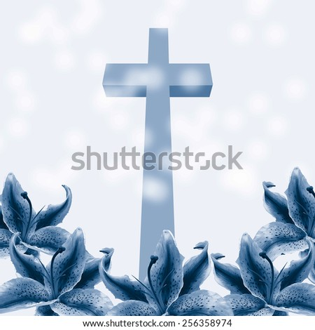 Christian cross and beautiful lily flower on abstract background - stock photo