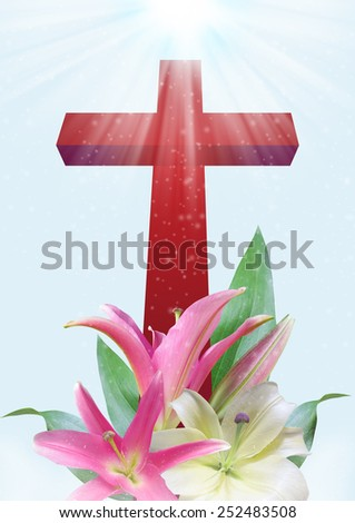 Christian cross and beautiful lily flower on blue background - stock photo