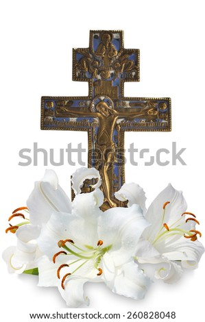 christian cross and three white lily on white background - stock photo