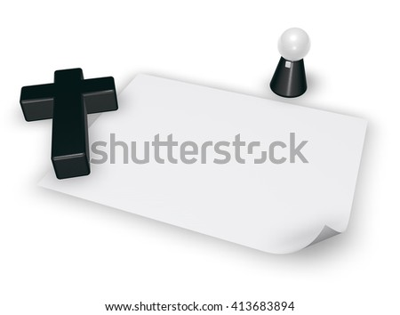 christian cross, blank paper sheet and pope figure - 3d rendering - stock photo