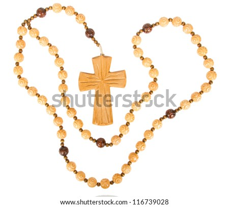 Christian cross chain, isolated on a white background - stock photo