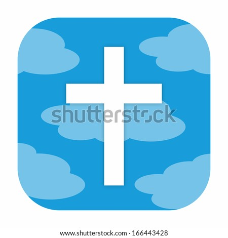 Christian cross icon - stock photo