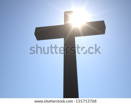 Christian Cross in front of Sun - stock photo