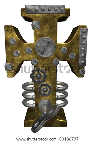 christian cross in steam punk look - 3d illustration