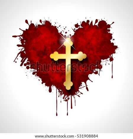 Christian cross in the heart