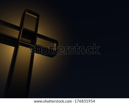 Christian cross made of glass - stock photo