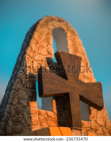 Christian cross on the top of a Greek Church. - stock photo