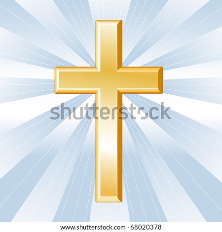 Christian Cross Symbol, Golden crucifix, icon of the Christian faith on a sky blue background with rays.