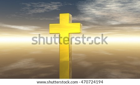 christian cross under cloudy sky - 3d rendering