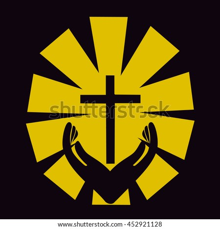 Christian cross with hand icon. Template logo for churches organizations - stock photo