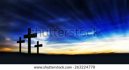 Christian Crosses on the Hill with Sun Rays, Christianity Symbol - stock photo