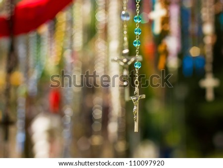 Christian crosses with image of Jesus - stock photo