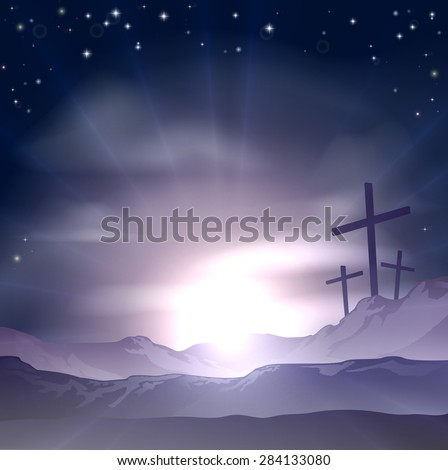 Christian Easter concept of three crosses on a hill - stock photo