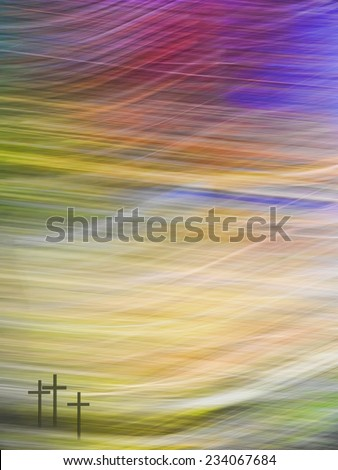 Christian Easter, three crosses on impressionistic landscape background. - stock photo