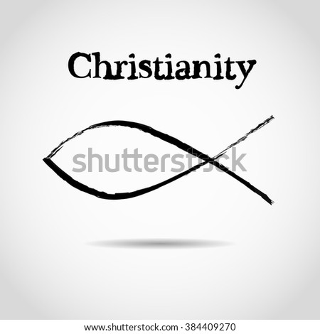 christian fish symbol. logo - stock photo