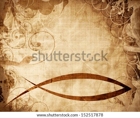 christian fish symbol on a parchment or paper background - stock photo