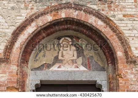 Christian fresco - stock photo