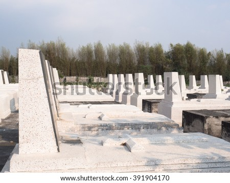 Christian marble graveyard - stock photo