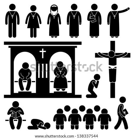 Christian Religion Culture Tradition Church Prayer Priest Pastor Nun Stick Figure Pictogram Icon - stock photo