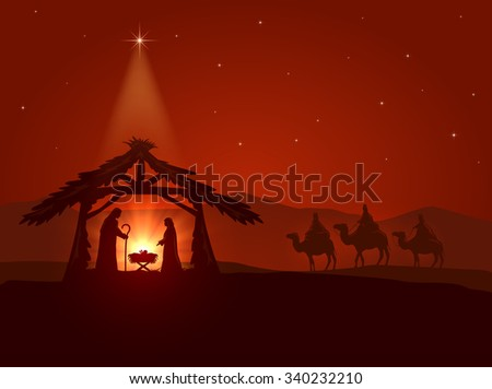 Christian theme, Christmas star and the birth of Jesus, illustration. - stock photo