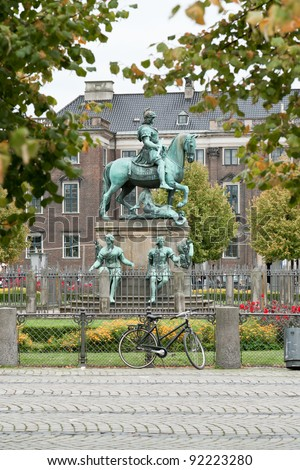 Christian V statue in Kongens Nytorv (King's New Square) in Copenhagen, Denmark