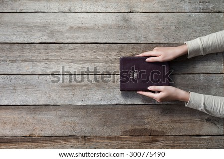christian woman holding the bible. top angle of view - stock photo