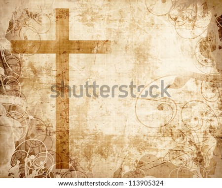 Christianity representation with the symbol of a cross on parchment - stock photo