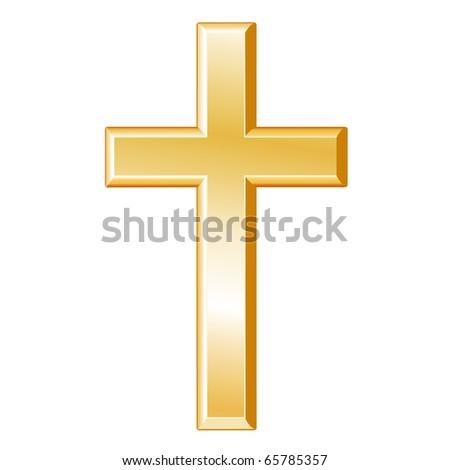 Christianity Symbol Golden Cross Icon Christian Stock Illustration