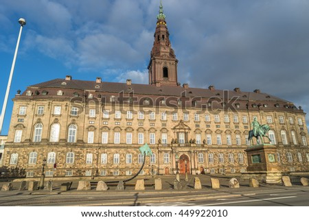 Christiansborg Palace illuminated in early morning, Copenhagen, Denmark, summer time