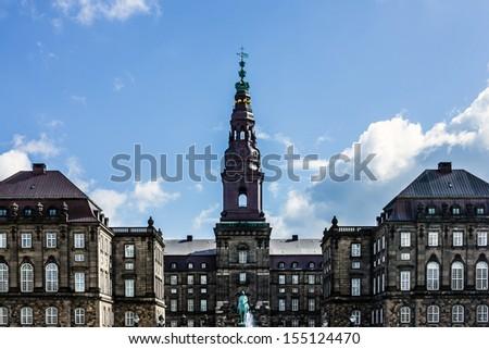 Christiansborg Slot - today building of Parliament, Copenhagen, Denmark. - stock photo