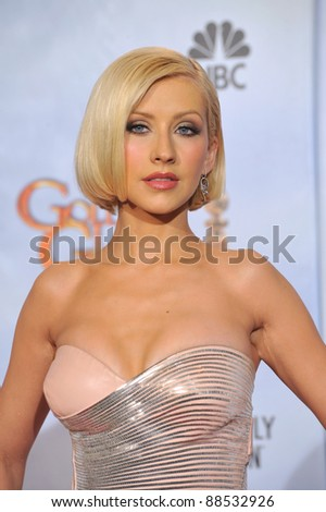 Christina Aguilera at the 67th Golden Globe Awards at the Beverly Hilton Hotel. January 17, 2010  Beverly Hills, CA Picture: Paul Smith / Featureflash - stock photo