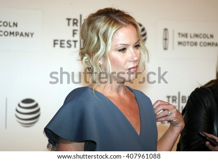 Christina Applegate arrives at the World Premiere of Youth in Oregon at John Zuccotti Theatre at the BMCC Tribeca Performing Arts Center during the 2016 Tribeca Film Festival on April16th, 2016 in NYC - stock photo