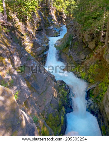Christine Falls, Van Trump Creek, Mount Rainier National Park, WA - stock photo