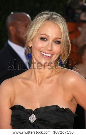 Christine Taylor  at the Los Angeles Premiere of 'Tropic Thunder'. Mann's Village Theater, Westwood, CA. 08-11-08 - stock photo