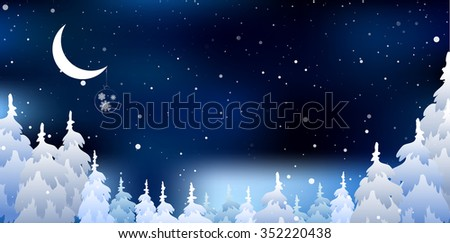 Christmas a background and Snowy forest - stock photo