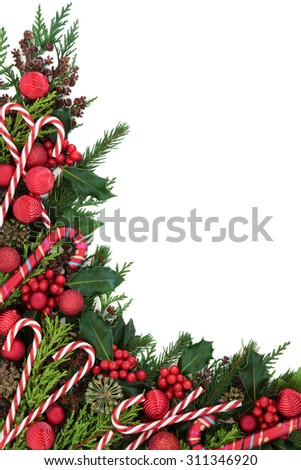 Christmas abstract background border with candy cane decorations, holly, ivy, pine cones, cedar cypress  and fir over white. - stock photo