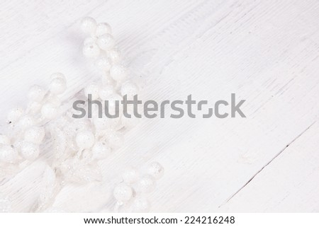 Christmas accessories on grange white wooden background
