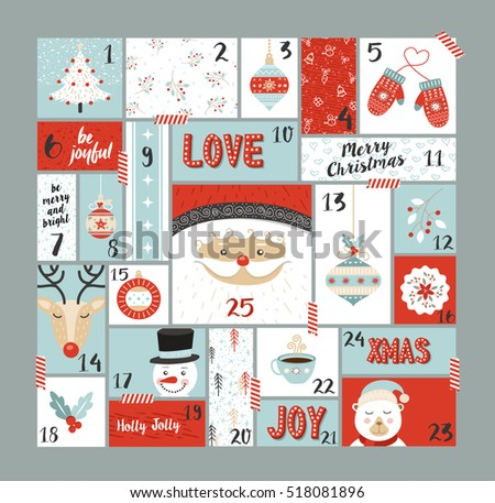 Christmas Advent Calendar Cute Holiday Decoration Stock ...