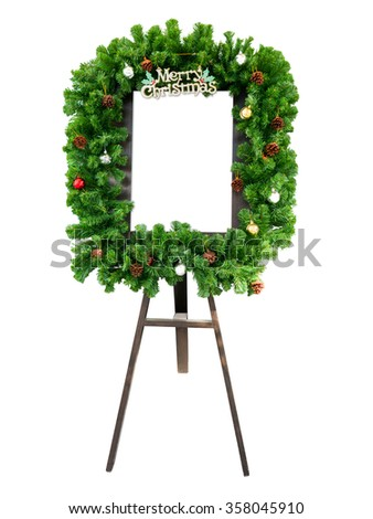 Christmas advertising board isolated on white background - stock photo
