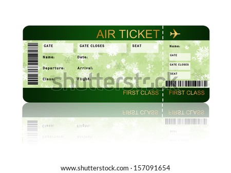 christmas airline boarding pass ticket with shadow isolated over white background - stock photo