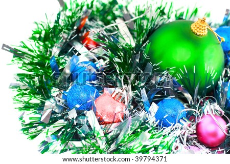 Christmas and  and New Year decoration- balls, tinsel .Isolated on the white background