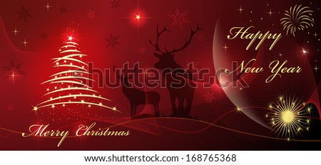 Christmas and happy new year card with tree and star on red beautiful background - stock photo