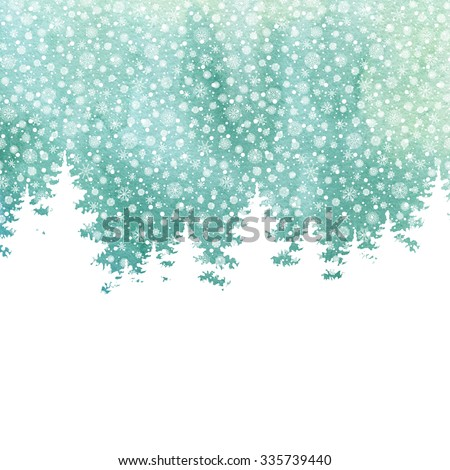 Christmas and Happy New Year greeting card. Hand drawn watercolor winter holidays landscape background with trees, snowflakes, falling snow.  - stock photo