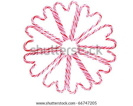 christmas and holiday candy canes isolated on white, with room for your text - stock photo