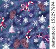 Christmas and New Year background in blue colors - fir tree texture with x-mas accessories and snowflakes - seamless pattern. Raster version - stock photo